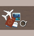 travel gear with travel instant photographs vector image