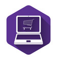 white online shopping concept shopping cart on vector image vector image