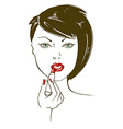 with face of woman aplying lipstick vector image vector image