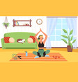 yoga at home woman in sportswear sitting vector image