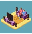 Young family playing video game at home 3D vector image vector image