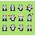 set of cute funny cartoon pandas vector image