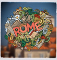 rome hand lettering and doodles elements and vector image