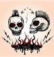 emblem with a skull hand drawing vector image