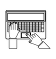 person hands with laptop and typing vector image