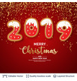 2019 number of gingerbread cookies on red banner vector image vector image