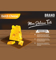 3d delicious yellow cheese on wooden table for vector image