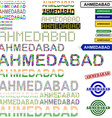 Ahmedabad text design set vector image vector image