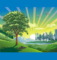 beautiful landscape-sunrise over the city vector image vector image