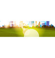 beautiful sunshine over city view sunlight vector image