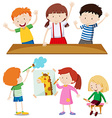 Boys and girls learning at school vector image