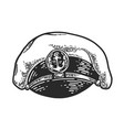 captain hat engraving vector image vector image