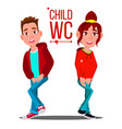 child wc sign boy and girl toilet icon vector image