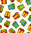 Christmas gift box patch icon pattern background vector image vector image