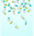colorful capsules falling background vector image vector image