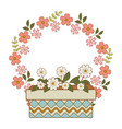 cute flowers and leafs in pot with crown vector image vector image