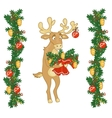 Deer Santa gives a bouquet of branches vector image vector image