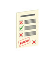 exam fail symbol flat isometric icon or logo 3d vector image vector image
