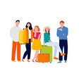 friends travelling together pose carrying baggage vector image vector image