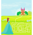 Funny maze game the beauty princess find the way vector image
