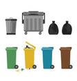 garbage cans flat icons vector image vector image