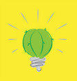 green cactus light blub on yellow background vector image vector image