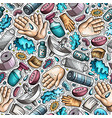 hand wash hand drawn doodles seamless pattern vector image
