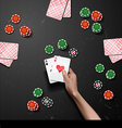 hand with poker cards vector image vector image