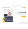 hotel booking landing page template online vector image vector image