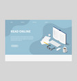 isometric online reading landing page vector image vector image