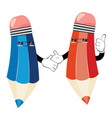 kawaii pencil characters vector image vector image