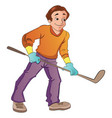 man playing hockey vector image vector image