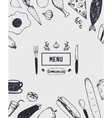 Menu cover with hand drawn food Black and white vector image