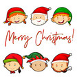 merry christmas card with santa and elves vector image vector image