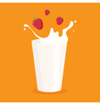 milk splash in the glass and raspberry vector image