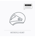 Motorcycle helmet icon Biking sport sign vector image vector image