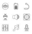 music player icons set outline style vector image vector image