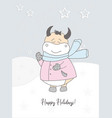 new years card 2021 cute ox in a scarf winter vector image vector image