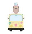 owl bird with feathers hat and van bohemian style vector image vector image