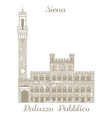 palazzo pubblico in siena in hand drawn style vector image vector image