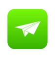 Paper plane icon digital green vector image