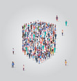 people crowd gathering in shield icon shape social vector image vector image