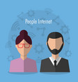 people internet avatar character woman and man vector image