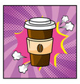 plastic coffee cup and pop art style vector image