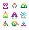 polygonal triangle logo business colored identity vector image
