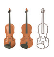 realistic and flat wooden violin vector image vector image