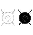 round shields with swords flat icons vector image