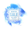 sale banner with snowflakes over blue background vector image