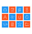 school education icons linear style vector image vector image
