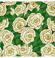 Seamless background with white roses and leaves vector image